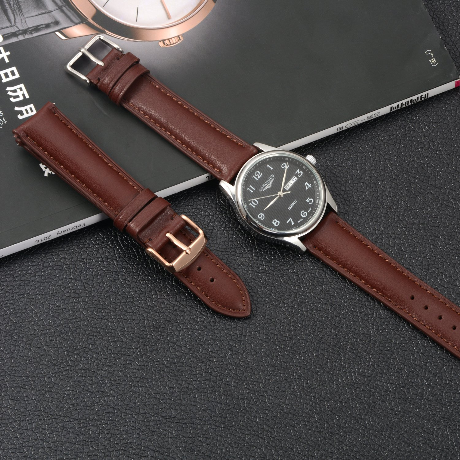 Quick Release Leather Watch Band 22mm Brown Replacement Watch Strap Genuine Polished Watch Clasp Buckle Gold Rose Padded Super Soft (18mm 20mm 22mm) by TStrap (Image #4)