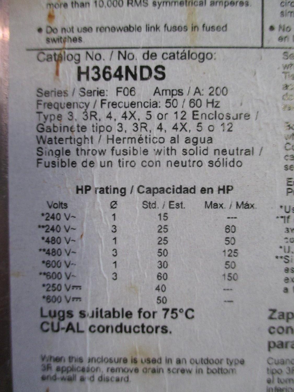 Amazon.com: 200 Amp 600VAC Single Throw Safety Switch 3P: Home Improvement