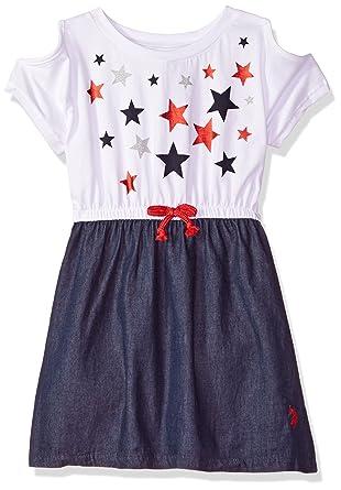 U.S. POLO ASSN. Niñas Vestido Informal Manga Corta Vestido Casual ...
