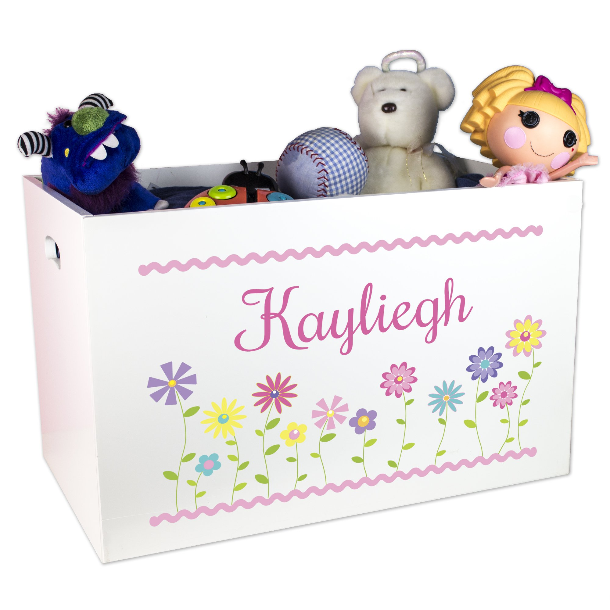 Girl's Personalized White Toy Box