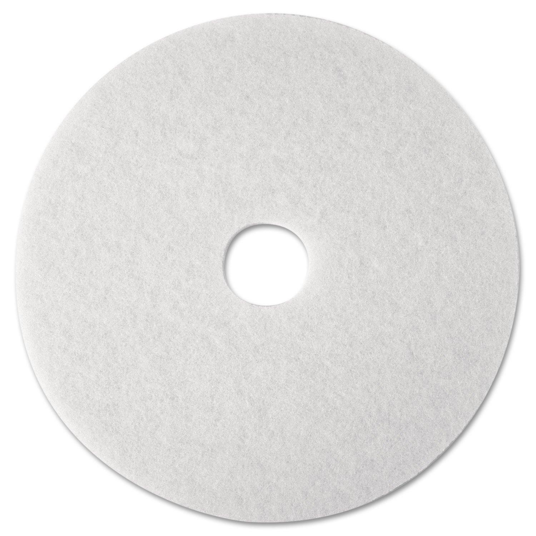 3M Commercial Ofc Sup Div 08476 Super Polish Pad,Removes Scuff//Black Heel,12 in.,5//CT,White