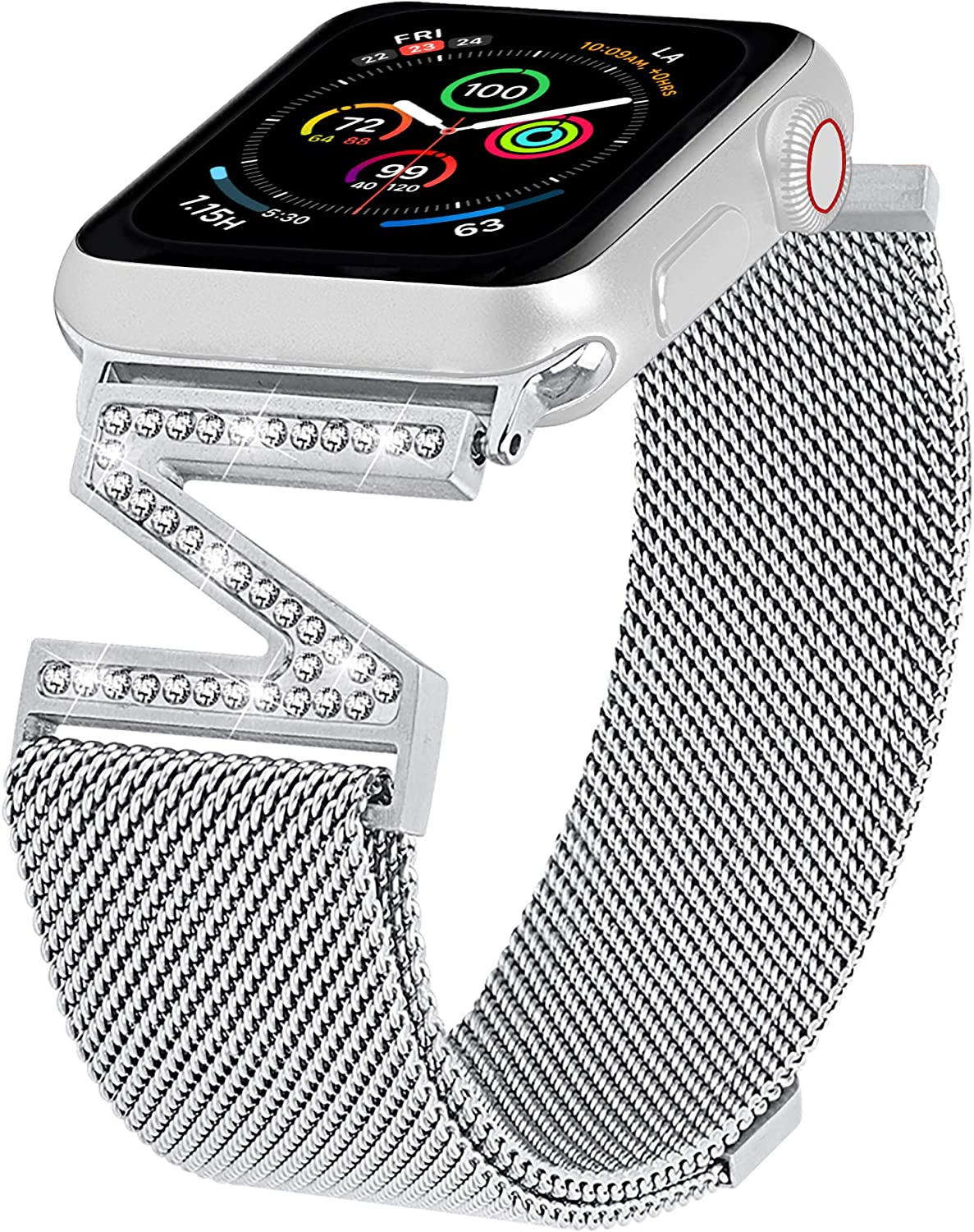 ALAMHI Magnetic Watch Band Compatible with Apple Watch 38mm 40mm 42mm 44mm, Adjustable Stainless Steel Clasp Mesh Wristband Sport Loop for iWatch Series 6/5/4/3/2/1/SE for Women with Bling Diamond.