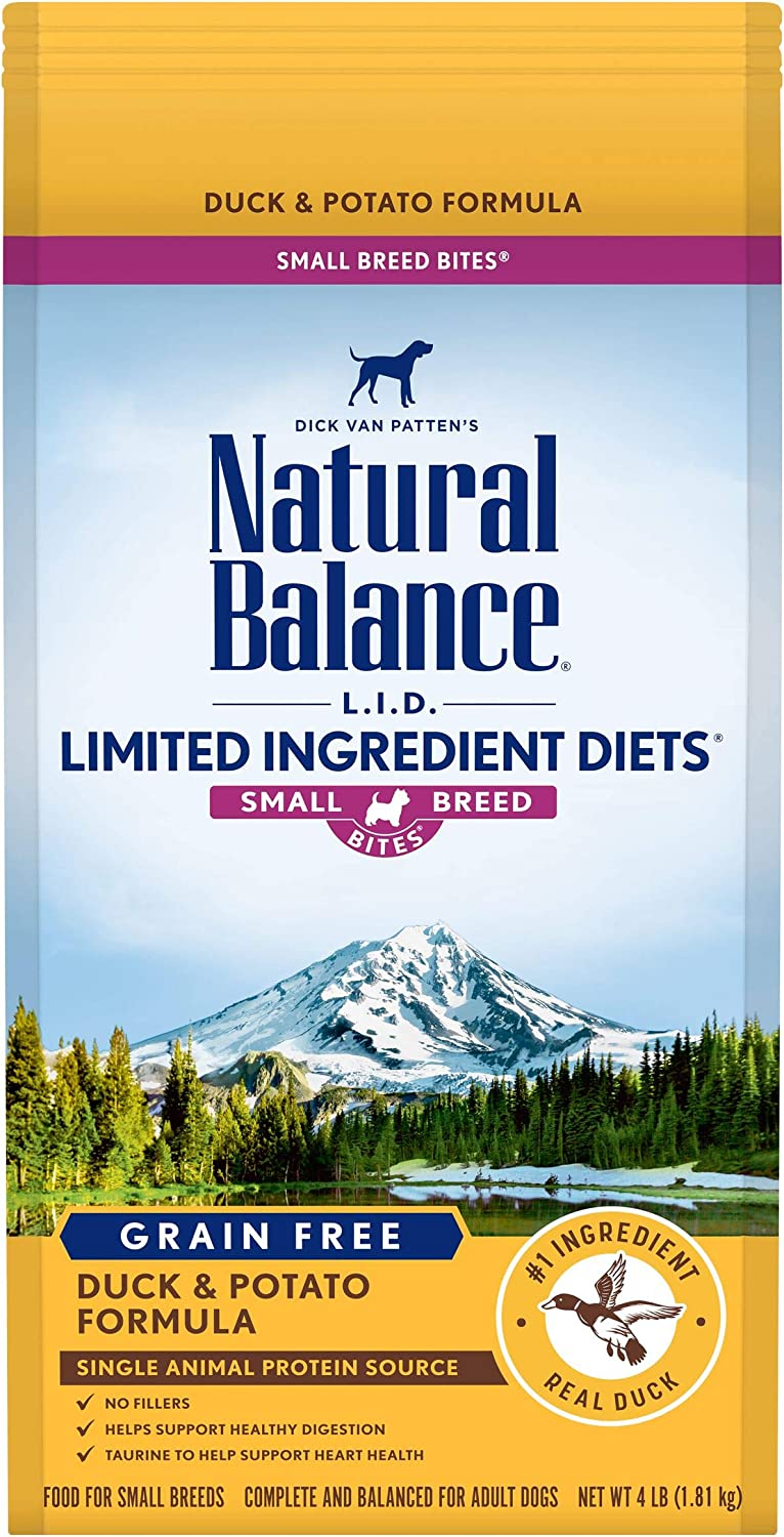 Natural Balance L.I.D. Limited Ingredient Diets Small Breed Bites Dry Dog Food, Duck & Potato Formula, 4 Pounds