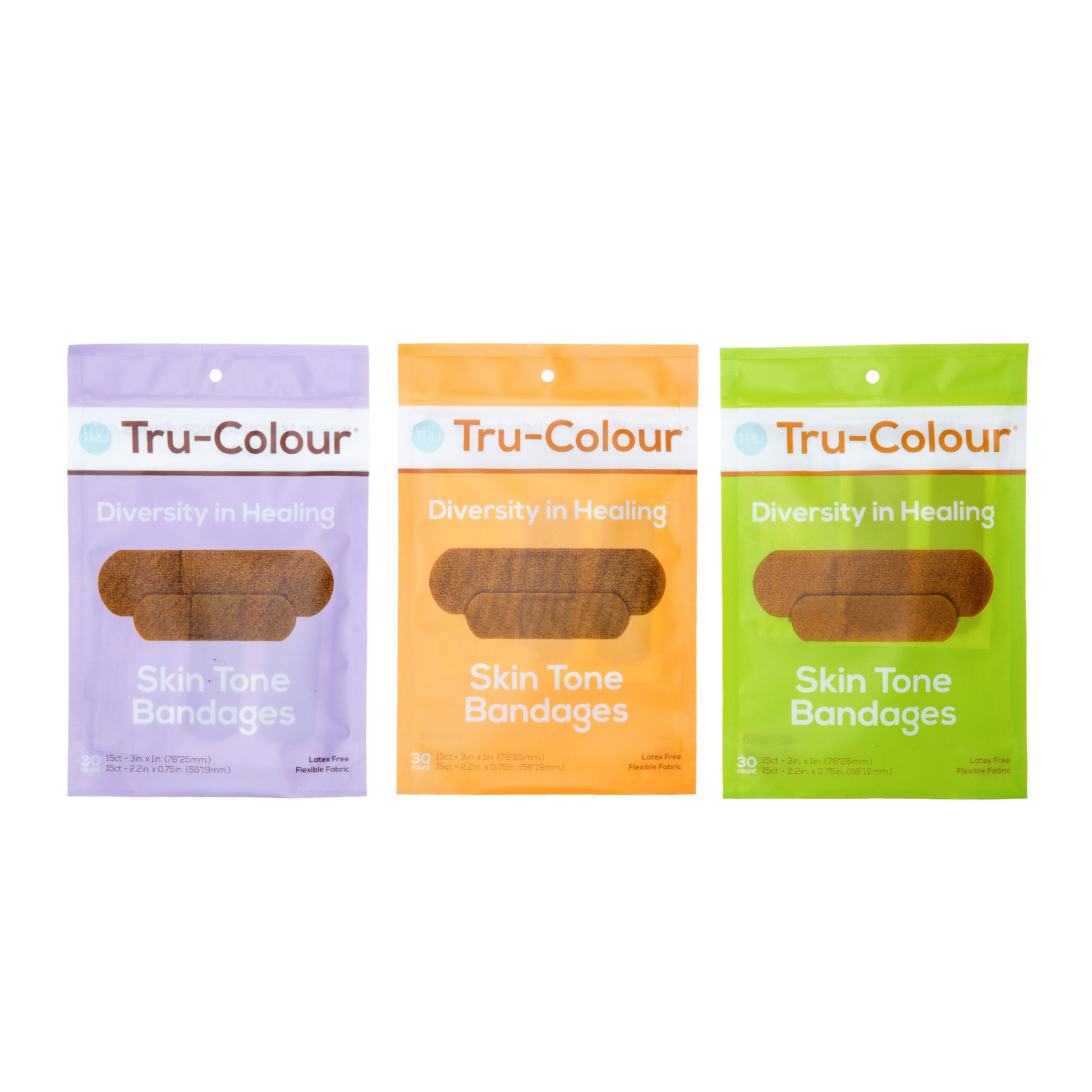 Tru-Colour Bandages Skin Tone Flexible Fabric Bandages Color Combo Pack - 3 Pack (90 Count) by Tru-Colour
