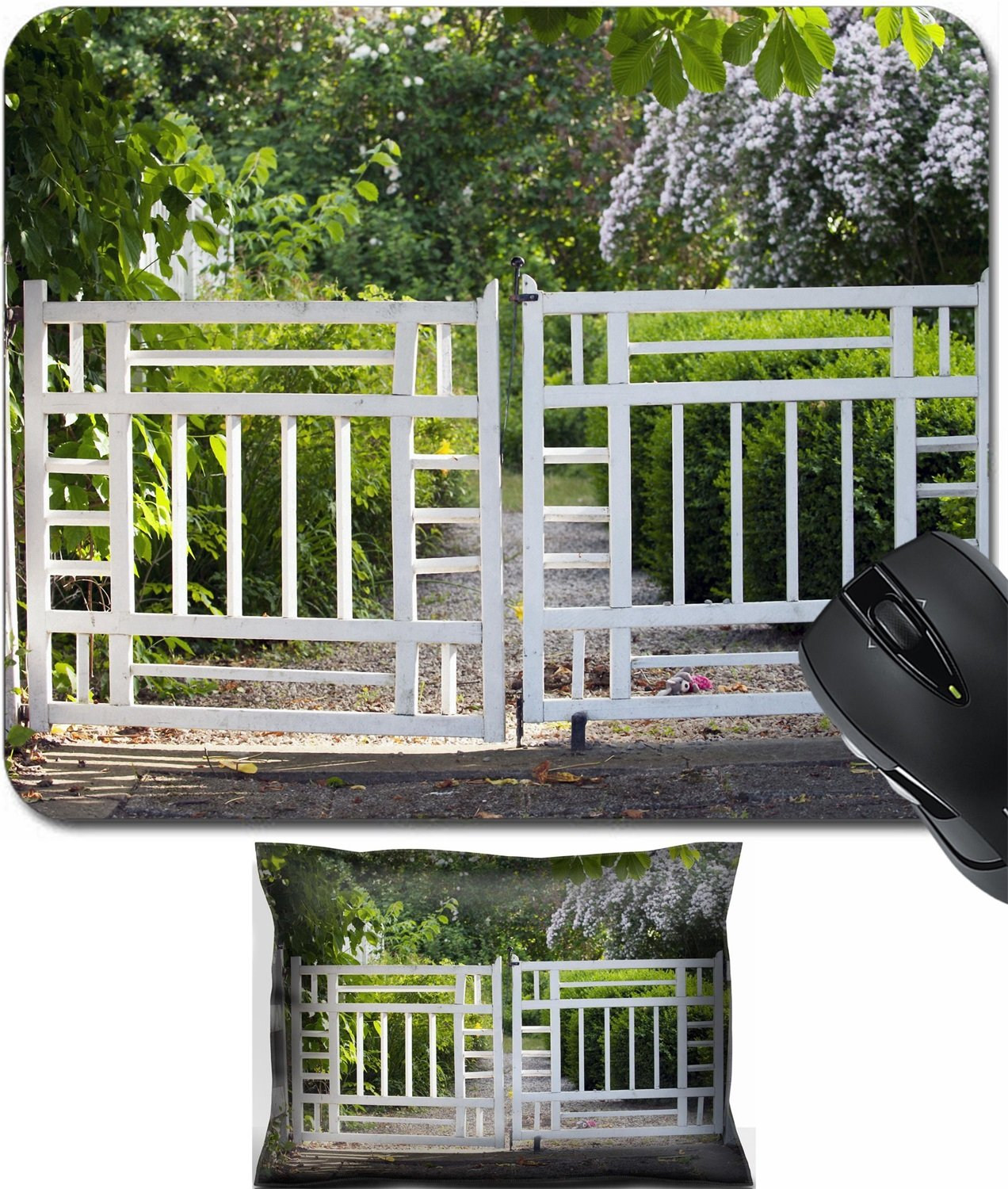 Amazon.com : MSD Mouse Wrist Rest and Small Mousepad Set, 2pc Wrist Support  design 22806478 Old vintage gates to a lush summer garden : Office Products