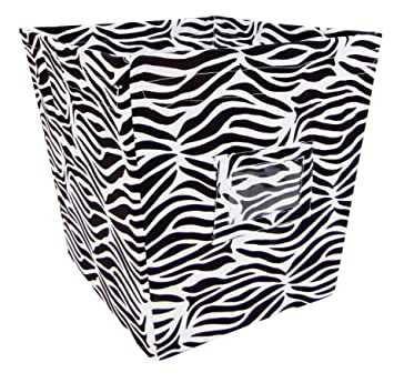 Bon Trend Lab Fabric Storage Bin, Zebra Print, Medium