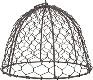 The Country House Domed Cloche Silver Tone 10.5 x 7.5 Chicken Wire Mesh Tin Metal Plant Cover