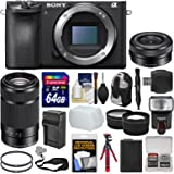 Sony Alpha A6500 4K Wi-Fi Digital Camera Body with 16-50mm & 55-210mm Lenses + 64GB Card + Case + Flash + Battery & Charger + Tripod Kit