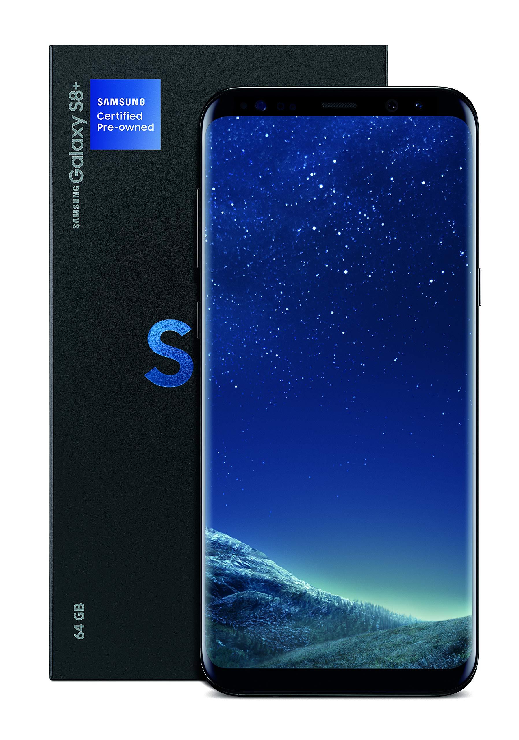 Samsung Galaxy S8+ Certified Pre-Owned Factory Unlocked Phone - 6.2Inch Screen - 64GB - Midnight Black (U.S. Warranty) (Renewed)
