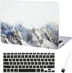 MacBook Pro 13 inch Case Cover A1502 A1425 Mountain Plastic Laptop Hard Shell Cover Sleeve Matte Rubberized (2012 2013 2014 2015 Release) with Silicone Keyboad Cover and Dust Brush(Snow Mountain)