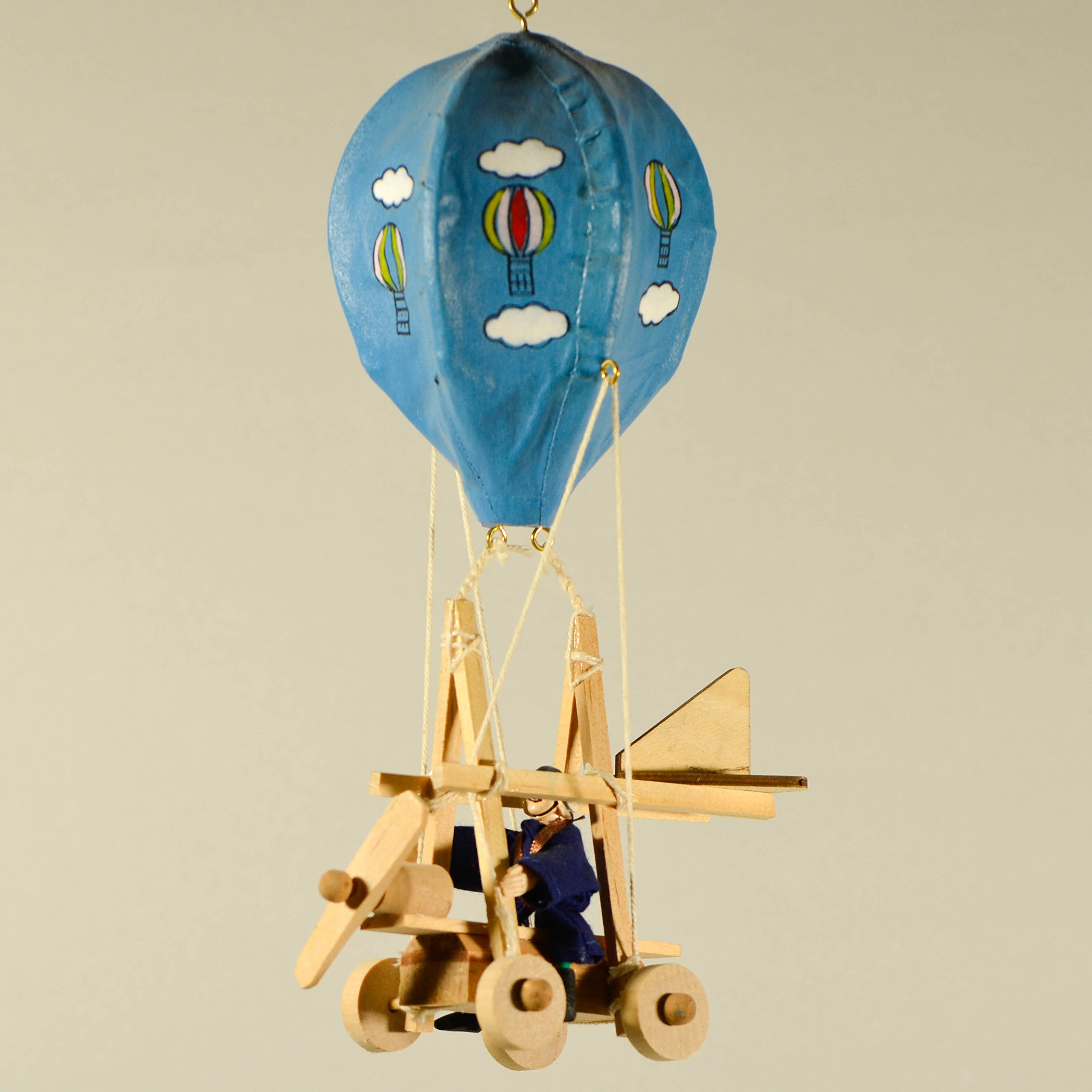Wooden Hot Air Balloon Mobile with Painted Clouds Nursery Decor Wooden Mobile Home Decor Kids Room