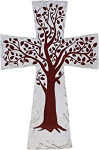 DeLeon Collections Rustic Faux Stone Red Tree of Life Wall Cross - Decorative Spiritual Art Sculpture