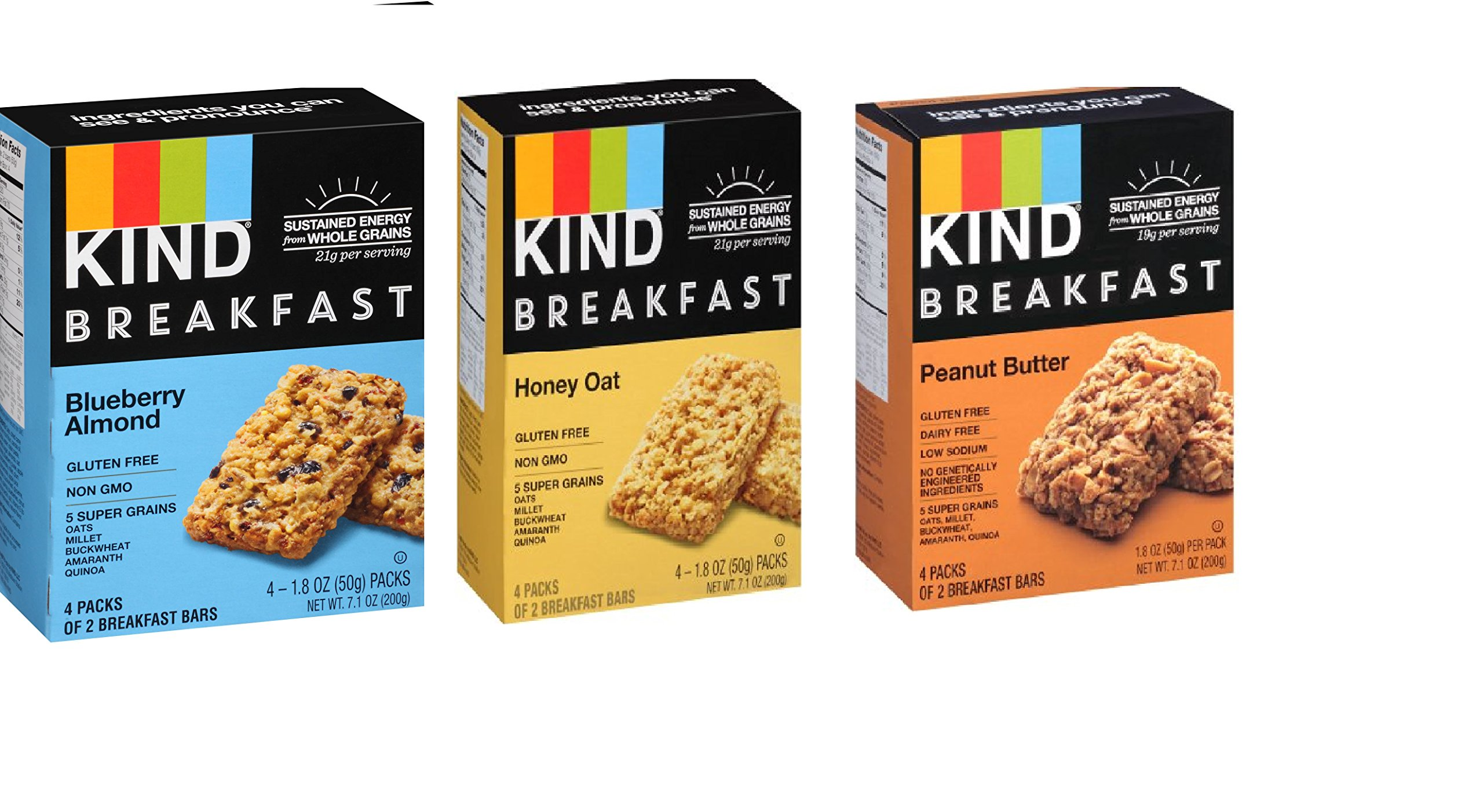 KIND Breakfast Mix, 4 count each (Variety Pack of 3) by KIND