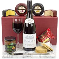 Red Wine and Cheese Classic Hamper - Includes a fine Côtes Du Rhône Wine, a duo of Cheese Truckles, Pear and Plum Chutney and Oatcakes all presented in a Luxury Bordeaux Gift Box with FREE DELIVERY