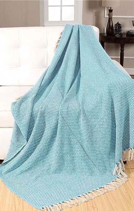 EHC Tejido Manta para sofá sillón Cama Picnic Alfombra 125 x 150 cm, algodón, Color Azul, Verde y Blanco