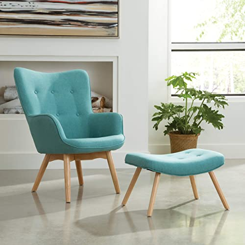 OFM 161 Collection Mid Century Modern Tufted Fabric Lounge Chair with Ottoman, Solid Honey Beechwood Legs, in Teal