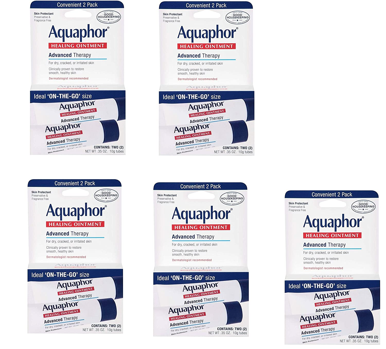 Aquaphor Advanced Therapy Healing Ointment Skin Protectant to Go Pack, 0.35 Ounce, 10 Tube Pack