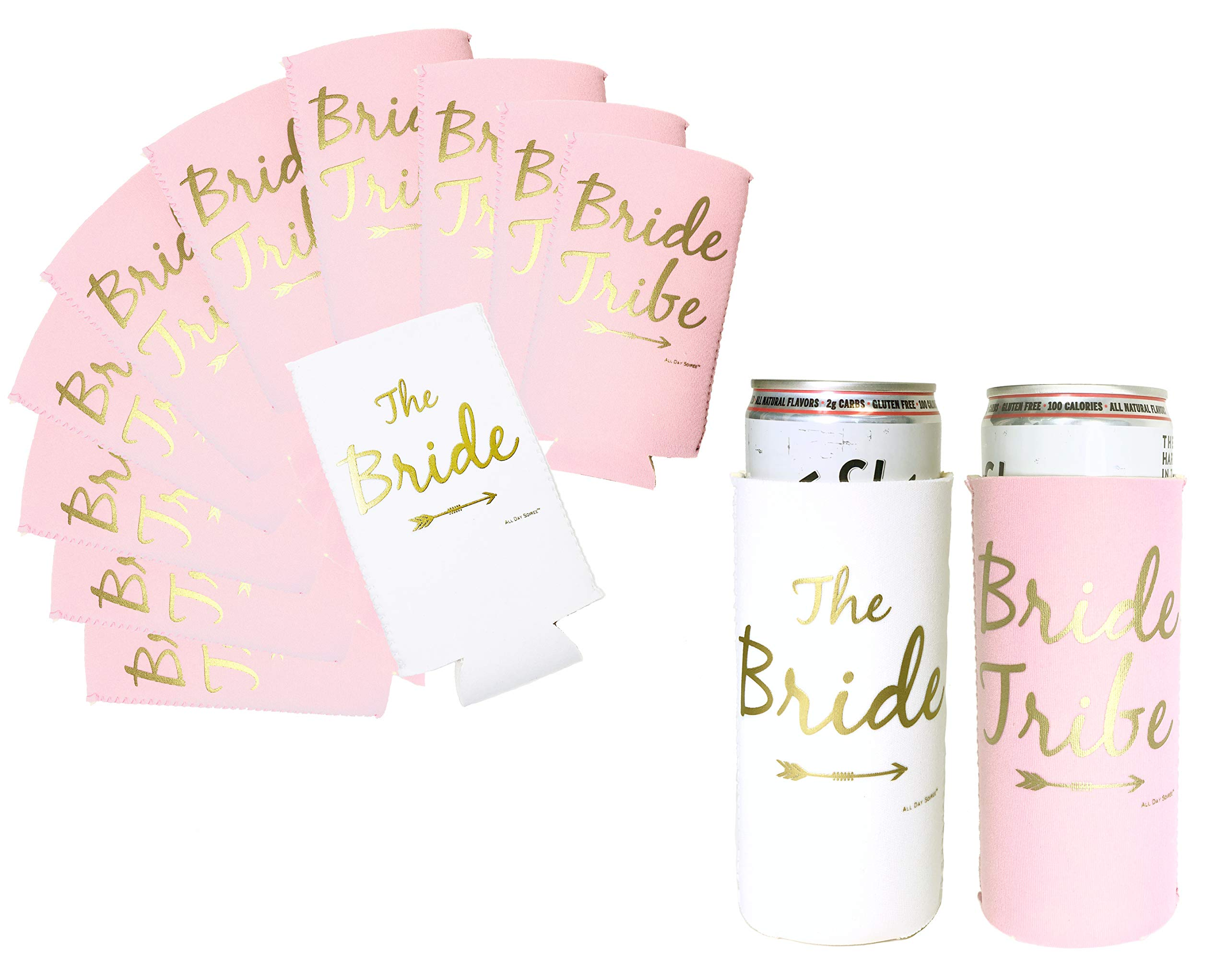 Bride Tribe Bachelorette Party Skinny Can Sleeves - 11 Pack Insulated Neoprene Drink Holders, Fit Slim Spiked Hard Seltzer Beer Cans | 10 Pink 1 White | Bridal Shower Decorations, Supplies, Favors