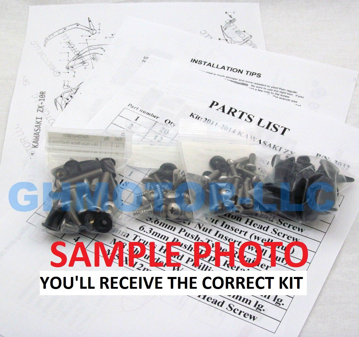 GHMotor Fairings Bolts Screws Fasteners Kit Set Made in USA for 1995 1996 1997 KAWASAKI ZX6R ZX-6R Silver GHMotor-3012$-bk