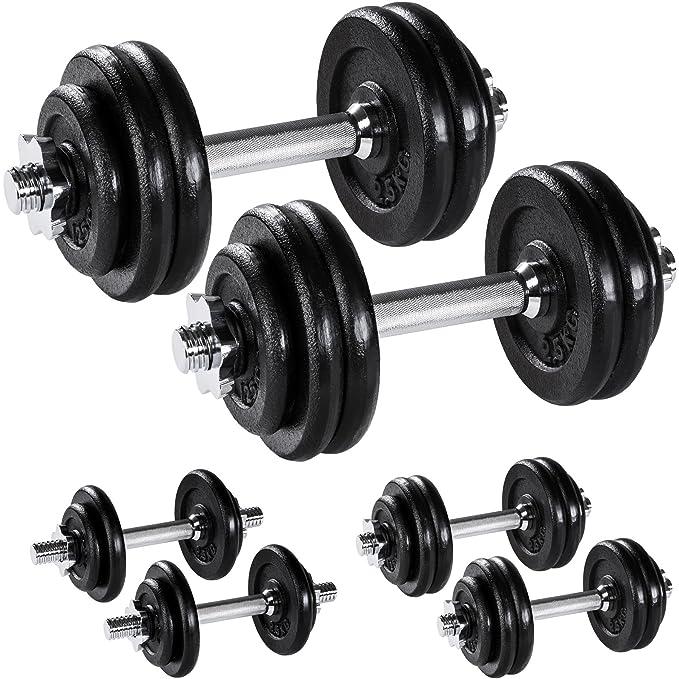 TecTake Set Mancuernas con Pesas Halteras Fitness Acero Hierro Musculación Gimnasio - varios modelos - (2x 15kg | No. 402369): Amazon.es: Deportes y aire ...
