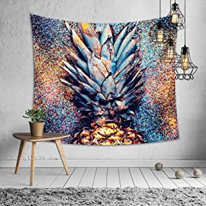 Summer Beach Electronic Syllable Party Tropical Bling Glitter Colorful Pineapple, EDC,Miami Tapestry,Wall Hanging for Bedroom/Living Room,Home Décor,Polyester,60W x 51L Inches (150cm x 130cm),1243