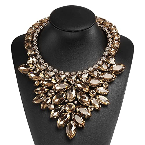 Holylove 2 Colors Women Fashion Chain Necklace Large Costume Jewelry for Night out with Gift Box xRF0UMVPbT