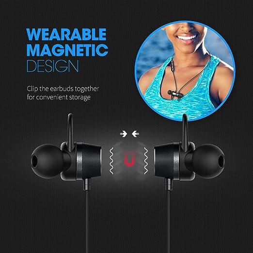 ... Mpow Sport magnético Sport Wireless Auriculares Headset Auriculares In-Ear Stereo Noise Cancelling Sport Auriculares con micrófono, 8 horas de tiempo de ...