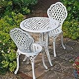 Lazy Susan - Table bistro IVY avec 2 chaises bistro IVY assorties - Salon de jardin en aluminium moulé, Blanc