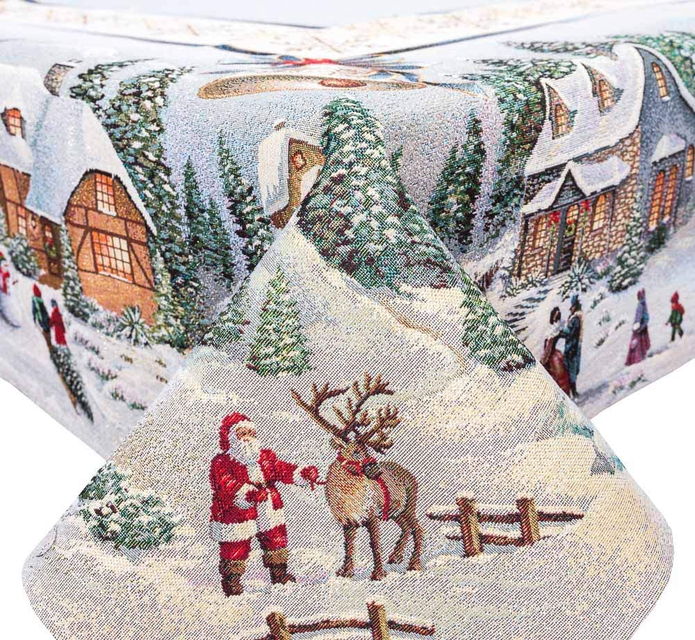 Luxury Christmas Tablecloth - Christmas in Mountains - Christmas Designer Tablecloth with Santa Tapestry Tablecloths Golden Lurex (54in x 94in)