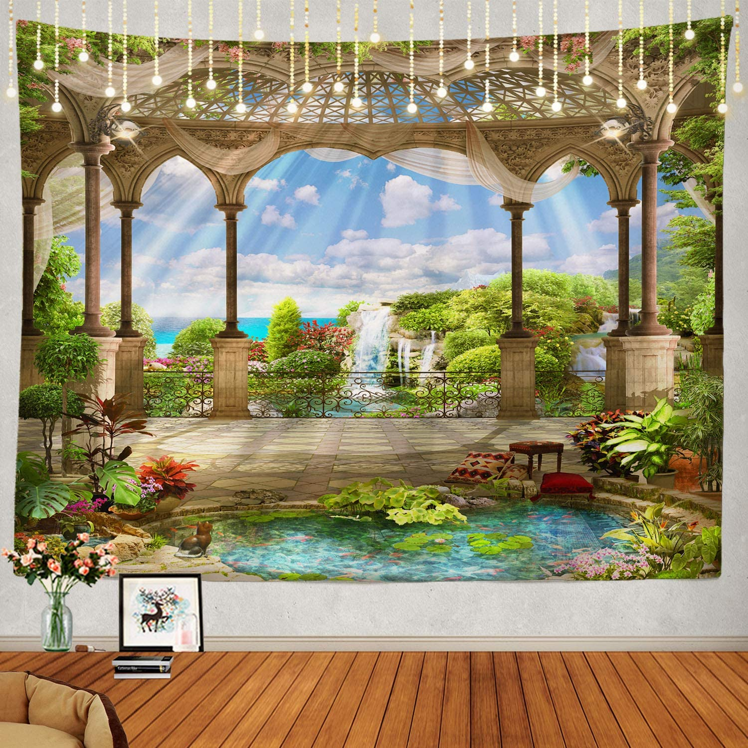 Shrahala Beautiful Tapestry, Waterfall Nature Scenery Landscape Wall Hanging Large Tapestry Psychedelic Tapestry Decorations Bedroom Living Room Dorm(59.1 x 82.7 Inches, Green 2)