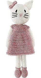 Häkelkatze rosa Ballerina aus Bio-Baumwolle