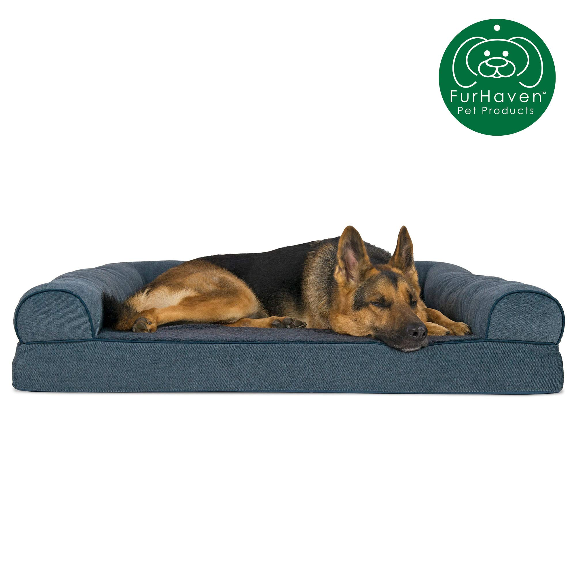 Furhaven Pet Dog Bed | Orthopedic Faux Fleece & Chenille Soft Woven Traditional Sofa-Style Living Room Couch Pet Bed w/ Removable Cover for Dogs & Cats, Orion Blue, Jumbo by Furhaven
