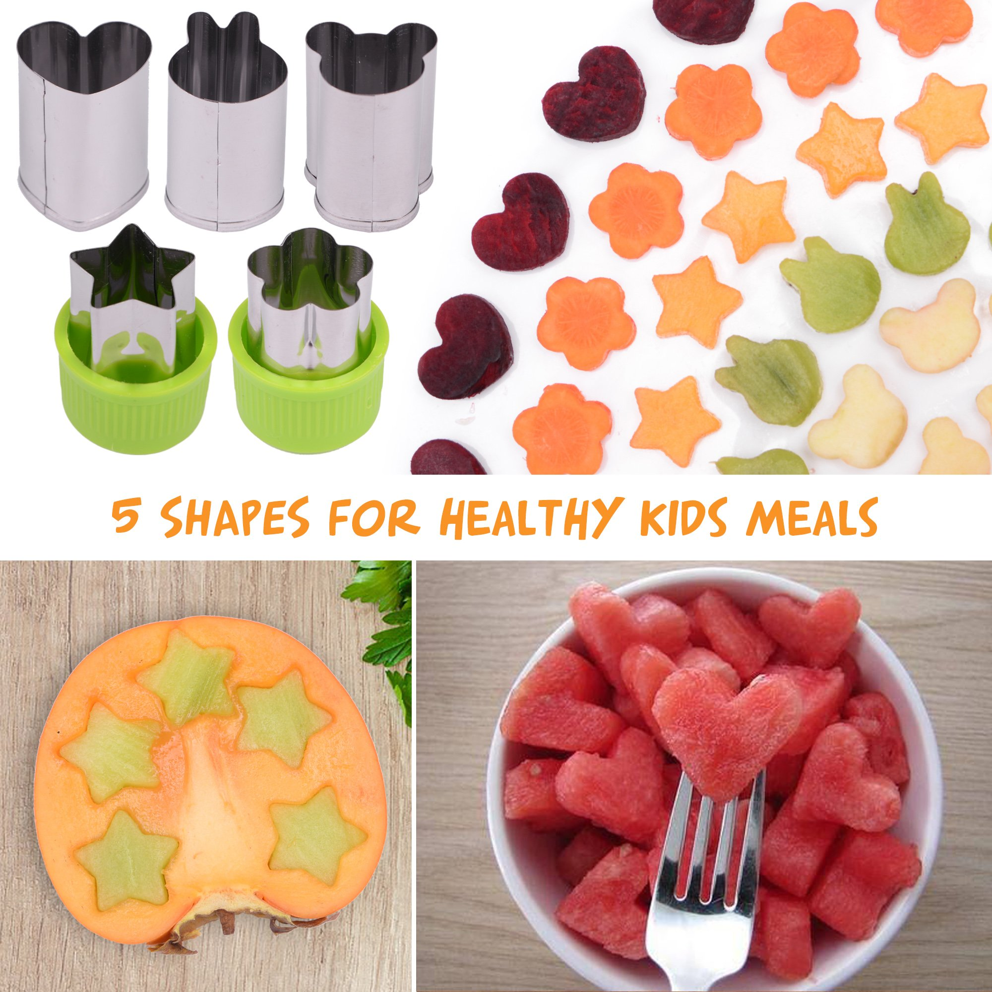 [20-Piece Set] Sandwich Cutters for Kids - 5 Sandwich Cutter Shapes, 5 Vegetable Cutters and FREE 10 Bento Decorations by GO FRESH (Image #4)