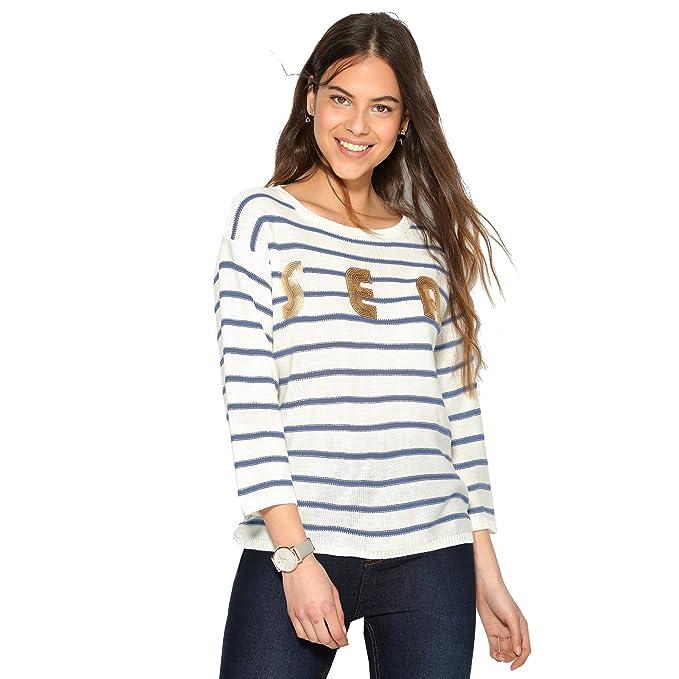 3648867cdbd VENCA Jersey con aplicación de Letras de Lentejuelas y Rayas marineras Mujer  - 104168, Azul, XXL: Amazon.es: Ropa y accesorios