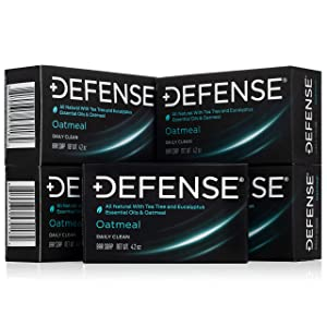 Defense Soap, Oatmeal, 4 Ounce Bar (Pack of 5) - 100% Natural and Herbal Pharmaceutical Grade Tea Tree Oil