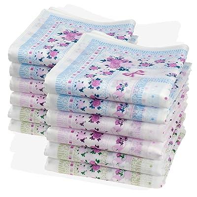 12 pañuelos florales finos - 100% algodón - Modelo « Leslie »: Deportes y aire libre