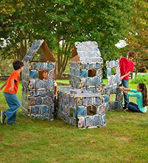 "product image for Magic Cabin HearthSong 16-Panel Castle Fantasy Forts Indoor Building Kit with Sturdy 22"" Cardboard Stone-Look Panels, Carton Building Clips, and Hook and Loop Tape"