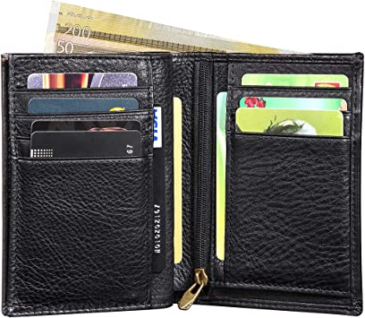 Men/'s GENUINE LEATHER Wallet RFID SAFE Black GIFT BOX Zip-Around Coin Pocket