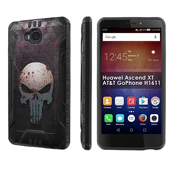 buy popular 759c5 a1687 Huawei Ascend XT [AT&T GoPhone H1611] [SlickCandy] Dual Layer Protection  Brush Metal Texture [Phone Case] - [Punisher] for Huawei Ascend XT
