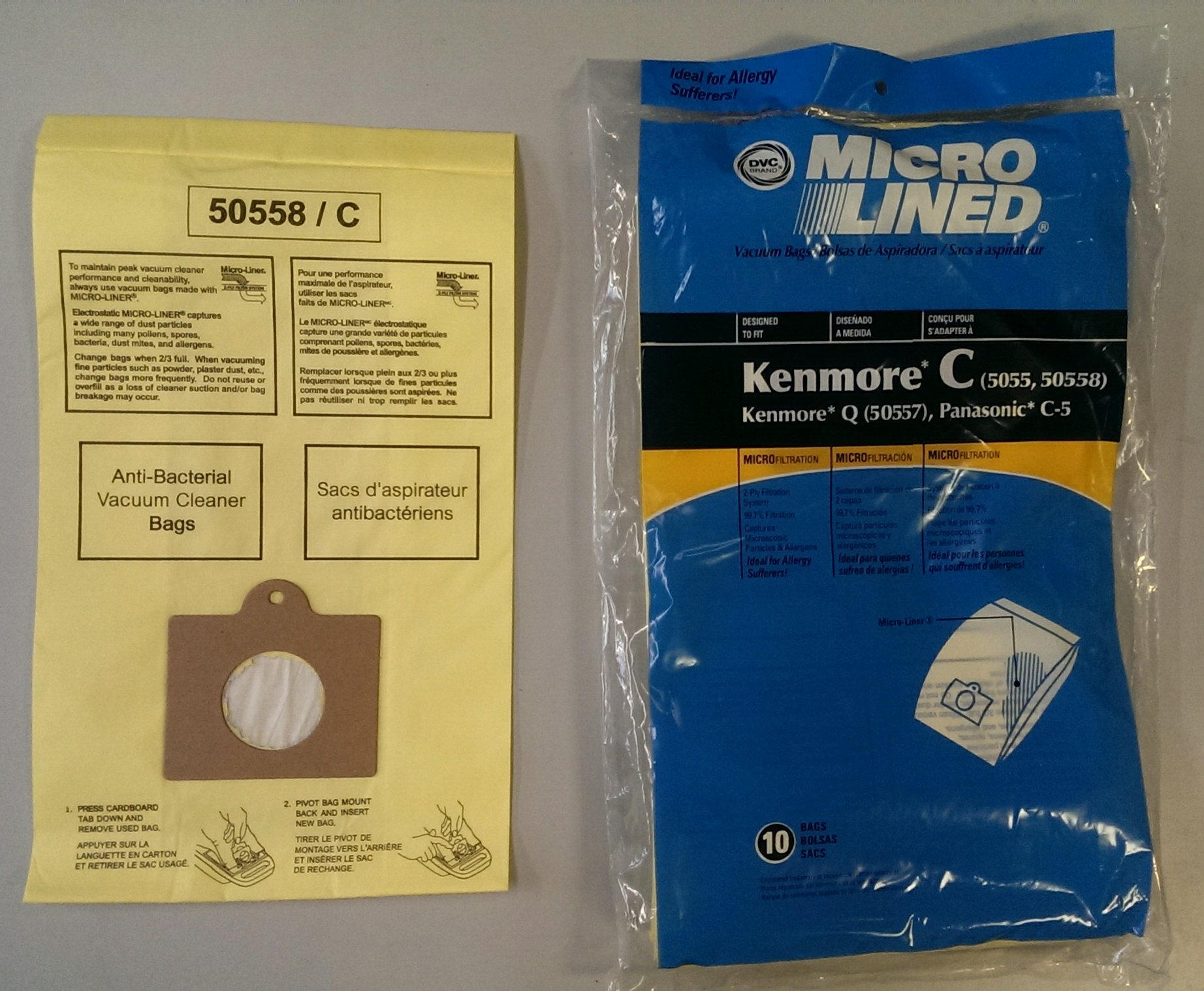 20 Kenmore Style C & Style Q 5055 50557 50558 Micro Lined Canister Vacuum Bags. Also Fits Panasonic C-5, C-18 by DVC by DVC