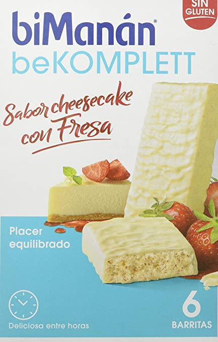 BiManán beKOMPLETT - Barritas Sabor Cheesecake con Fresa - Caja de 6 unidades - fuente de proteínas y fibra, con vitaminas y minerales