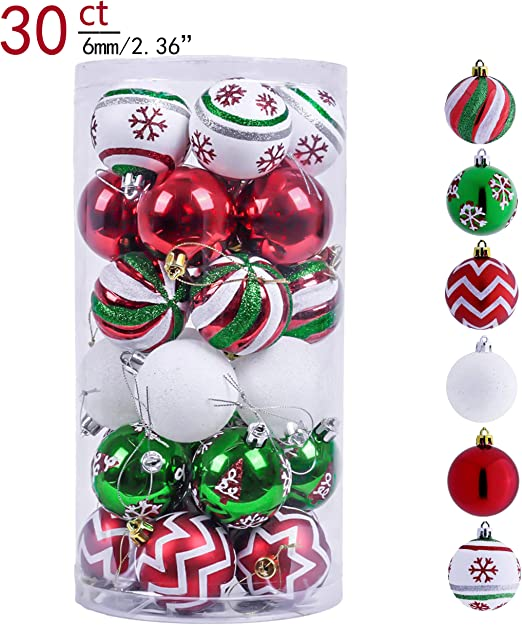 LOT OF 10 PACKS 60 TOTAL UNBREAKABLE CHRISTMAS ORNAMENTS RED PINK /& GREEN NEW