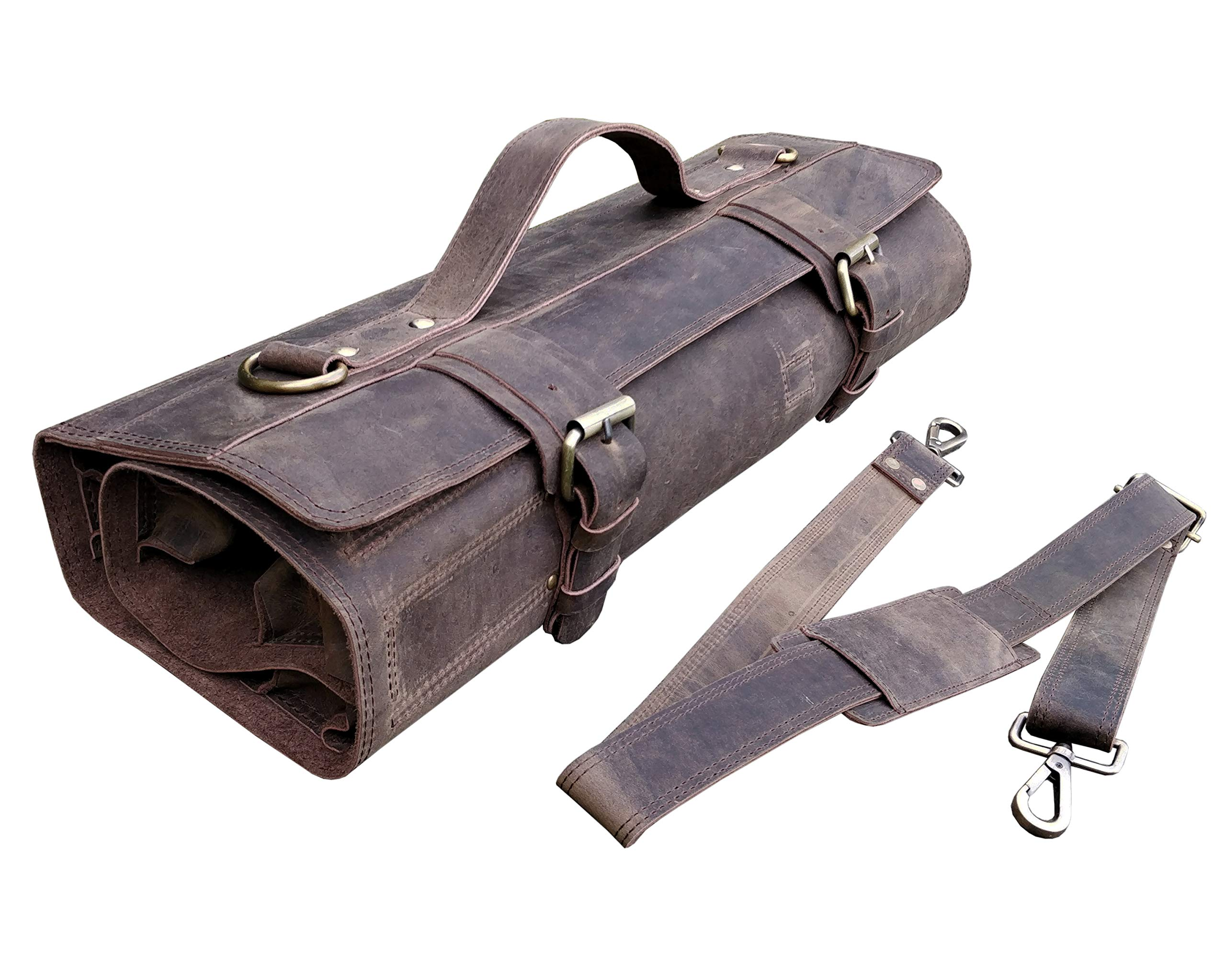 One Leaf - Leather Knife Roll Chefs Bag Hunter Leather - Bedouin X (Brass Color Buckle)