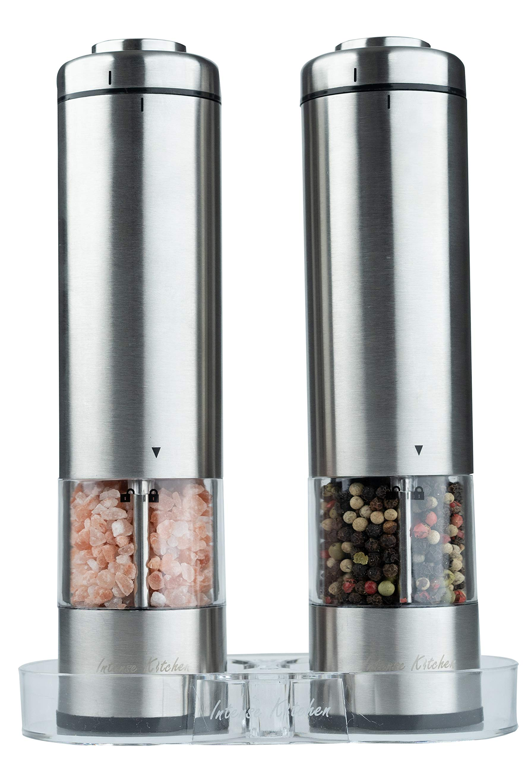 Electric Salt and Pepper Grinder Set by Intense Kitchen - Battery Operated Stainless Steel, LED Light and Clear Container Mills - Adjustable Ceramic Coarseness - Acrylic Mill Rest - One Hand-Button