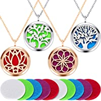 4 Pieces Aromatherapy Essential Oil Diffuser Pendant Locket Pendant Perfume Oil Jewelry Necklace with 14 Refill Pads and…