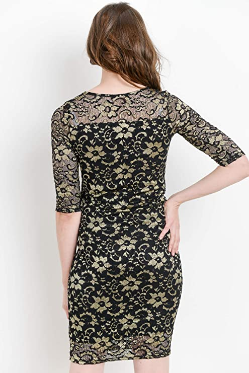 14b55c056c7 Hello MIZ Women s Maternity Floral Lace Knee Length Bodycon Dress at Amazon  Women s Clothing store