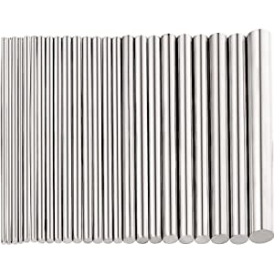 24 Pieces 304 Stainless Steel Round Rods Bar Assorted Diameter 1.5-8 mm for 100 mm Length Lead-Free Stainless Steel Rod for Drift Punches Various Shaft DIY Craft Model Plane Model Ship Model Cars