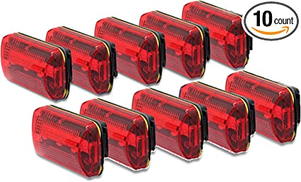 Water Resistant - Up to 100 Hours Set of 2 Wealers Personal Flashing Safety Light with Belt Clip