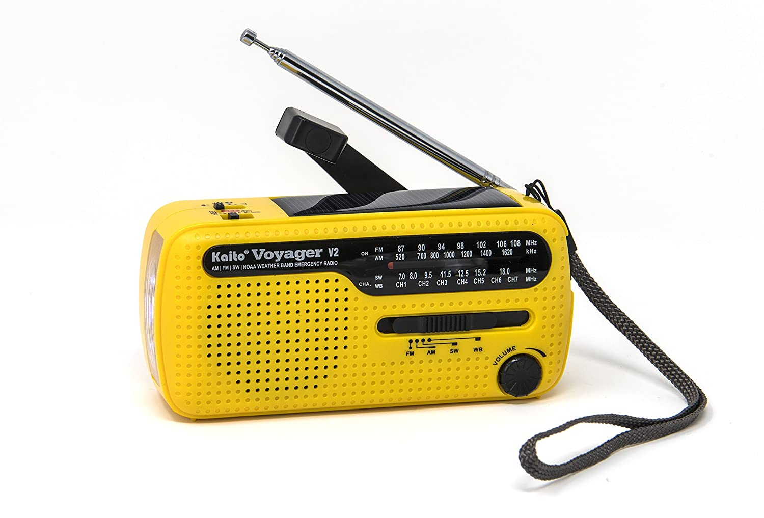 Kaito Best NOAA and SW Portable Solar/Hand Crank AM/FM, Shortwave & NOAA Weather Emergency Radio with USB Cell Phone Charger & LED Flashlight (Yellow)