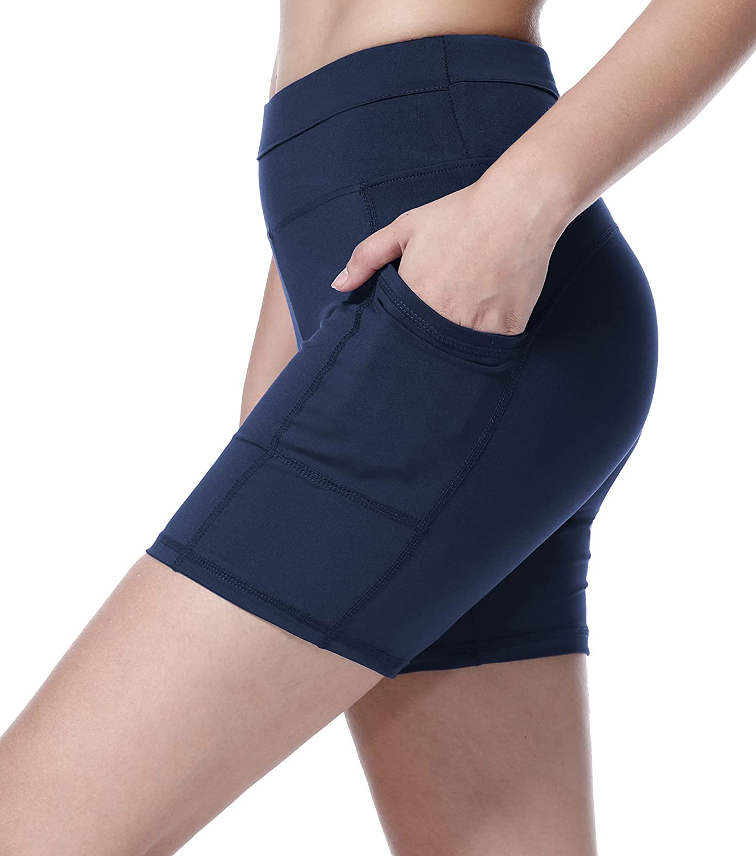 Sudawave Pantalones cortos de entrenamiento de malla para mujer Running Pantalones cortos de yoga con bolsillo lateral